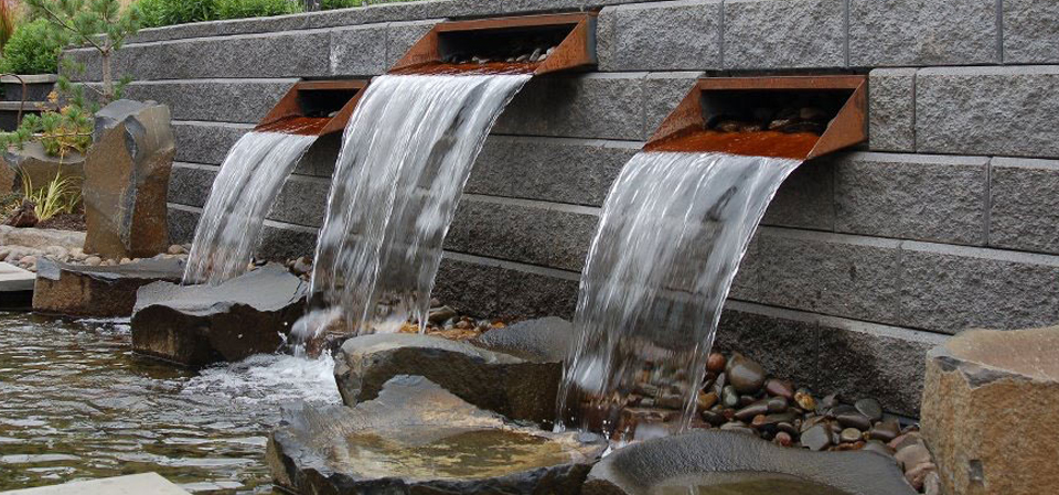 Allan Block and Bronze Bowls Water Feature